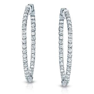 Certified 2.50 ct. tw. Trellis-style 23mm Round Diamond Hoop Earrings in 14K White Gold (H-I, SI1-SI2)