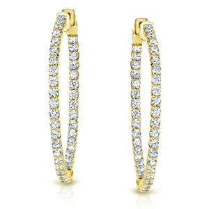Certified 2.50 ct. tw. Medium Trellis-style Round Diamond Hoop Earrings in 14K Yellow Gold (H-I, SI1-SI2), 0.90-inch (23mm)