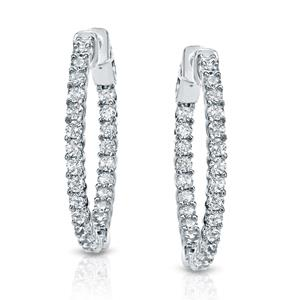 Certified 2.50 ct. tw. Medium Trellis-style Round Diamond Hoop Earrings in 14K White Gold (H-I, SI1-SI2), 1.41-inch (36mm)