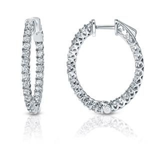 Certified 2.50 ct. tw. Trellis-style 36mm Round Diamond Hoop Earrings in 14K White Gold (H-I, SI1-SI2)