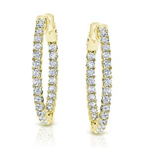 Certified 2.50 ct. tw. Medium Trellis-style Round Diamond Hoop Earrings in 14K Yellow Gold (H-I, SI1-SI2), 1.41-inch (36mm)