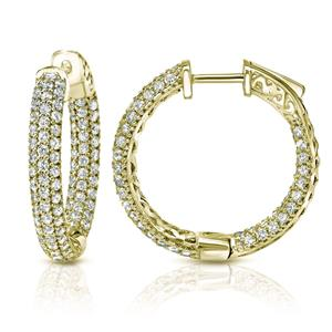 Certified 1.00 ct. tw. Medium Inside Out Pave Round Diamond Hoop Earrings in 14K Yellow Gold (H-I, SI1-SI2), 1-inch (25mm)