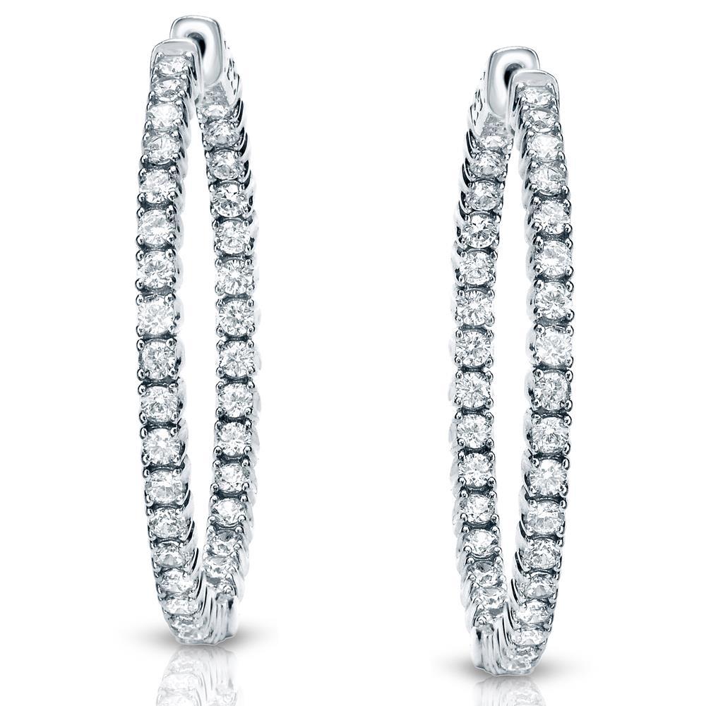 Certified 3.25 ct. tw. Medium Round Diamond Hoop Earrings in 14K White Gold (J-K, I1-I2), 1.25 inch