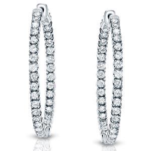 Certified 3.50 ct. tw. Round Diamond Hoop Earrings in 14K White Gold (J-K, I1-I2)