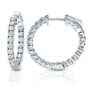 Certified 1.00 ct. tw. Small Round Diamond Hoop Earrings in 14K White Gold (H-I, SI1-SI2), 0.75-inch (20mm)