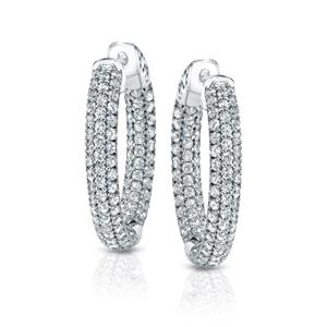 Certified 1.00 ct. tw. Medium Inside Out Pave Round Diamond Hoop Earrings in 14K White Gold (J-K, I1-I2), 1-inch (25mm)