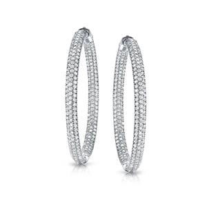 Certified 2.00 ct. tw. Medium Inside Out Pave Round Diamond Hoop Earrings in 14K White Gold (J-K, I1-I2), 1.5-inch (38mm)