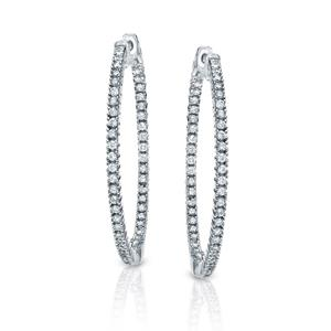 Certified 3.00 ct. tw. Large Round Diamond Hoop Earrings in 14K White Gold (H-I, SI1-SI2), 2-inch (50mm)