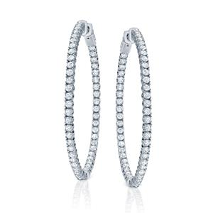 Certified 4.00 ct. tw. Large Round Diamond Hoop Earrings in 14K White Gold (H-I, SI1-SI2), 2-inch (50mm)