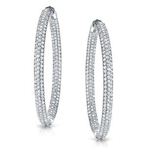 Certified 7.00 ct. tw. Large Pave Round Diamond Hoop Earrings in 14K White Gold (J-K, I1-I2), 1.75 inch