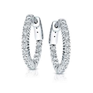 Certified 1.00 ct. tw. Medium Round Diamond Hoop Earrings in 14K White Gold (H-I, SI1-SI2), 1-inch (25mm)