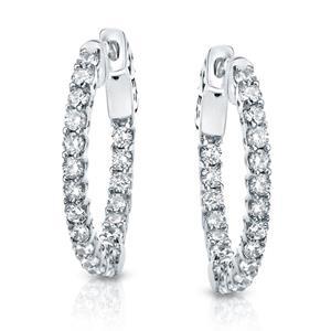 Certified 3.00 ct. tw. Medium Trellis-style Round Diamond Hoop Earrings in 14K White Gold (J-K, I1-I2), 0.75  inch