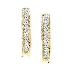 Certified 0.25 ct. tw. Small Round Diamond Hoop Earrings in 10K Yellow Gold (J-K, I2-I3), 0.50-inch (12.7mm)