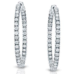 Certified 1.00 ct. tw. Medium Round Diamond Inside-Out Hoop Earrings in 14K White Gold (J-K, I1-I2), 0.82-inch (21mm)