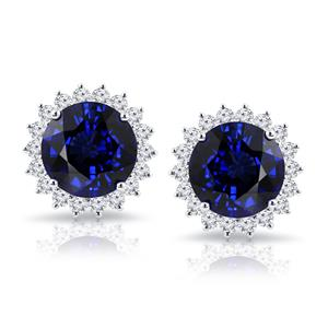 18K White Gold Halo Diamond Earrings with 15 cttw Round Blue Sapphire and 1.85 cttw Diamonds IGI Certified