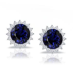 18K White Gold Halo Diamond Earrings with 8 3/4 cttw Round Blue Sapphire and 1 1/4 cttw Diamonds IGI Certified