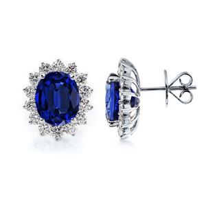 18K White Gold Halo Diamond Earrings with 10 3/4 cttw Oval Blue Sapphire and 2 3/8 cttw Diamonds IGI Certified