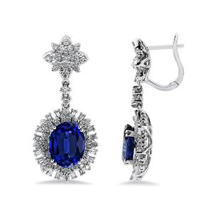 18K White Gold Halo Diamond Drop Earrings with 7 1/4 cttw Oval Blue Sapphire and 1 3/4 cttw Diamonds IGI Certified