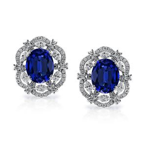 18K White Gold Halo Diamond Earrings with 7 1/2 cttw Oval Blue Sapphire and 1 3/4 cttw Diamonds IGI Certified