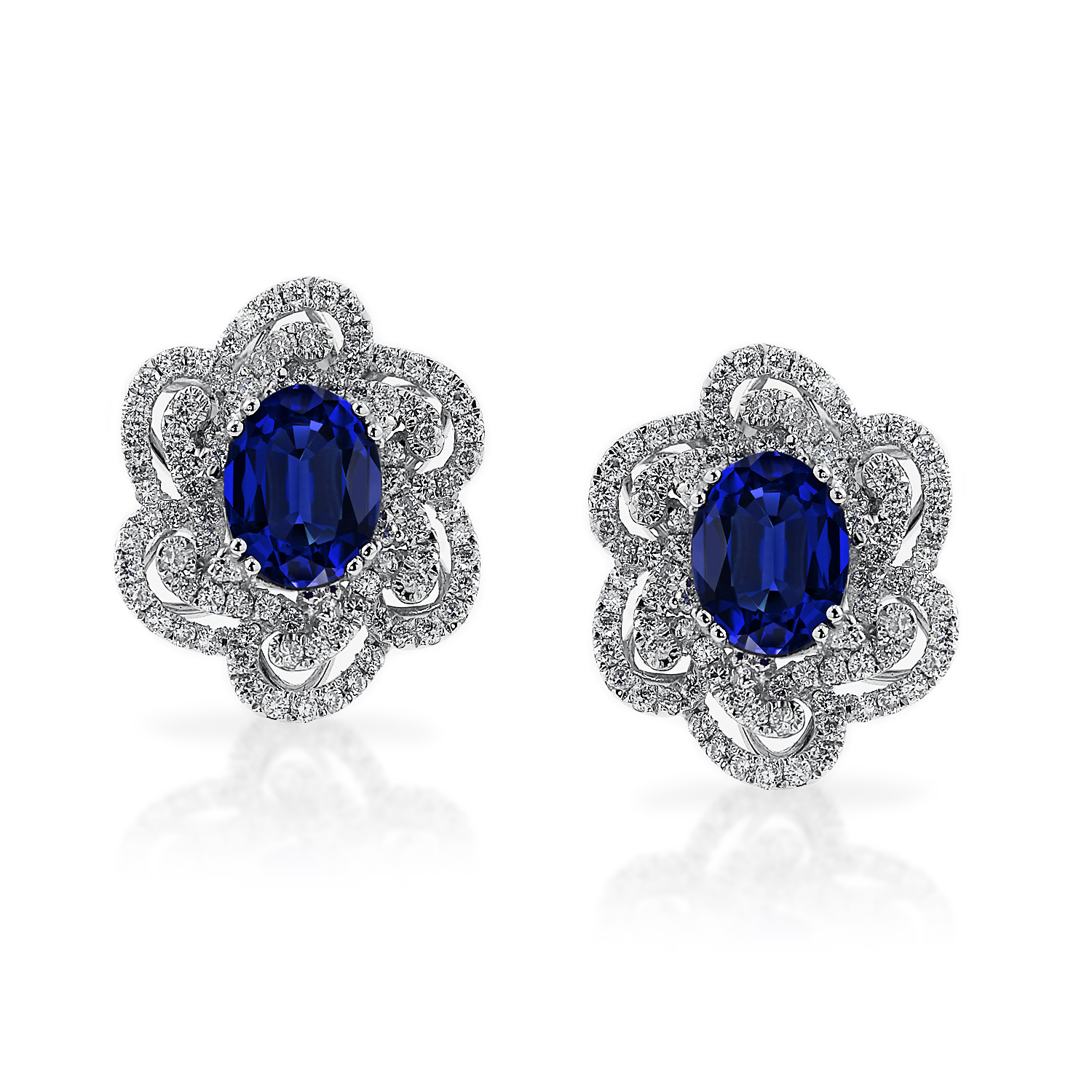 18K White Gold Halo Diamond Earrings with 3 5/8 cttw Oval Blue Sapphire and 9/10 cttw Diamonds IGI Certified