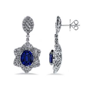 18K White Gold Halo Diamond Drop Earrings with 6 3/4 cttw Oval Blue Sapphire and 1 1/4 cttw Diamonds IGI Certified