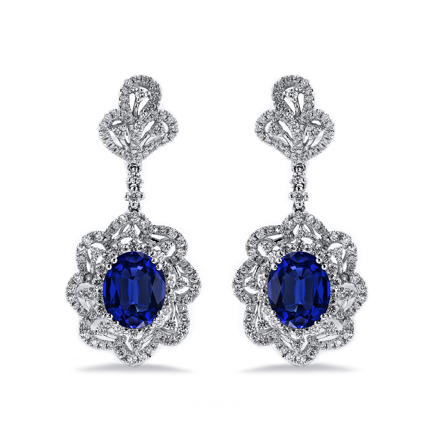 18K White Gold Halo Diamond Drop Earrings with 8 1/5 cttw Oval Blue Sapphire and 2 cttw Diamonds IGI Certified