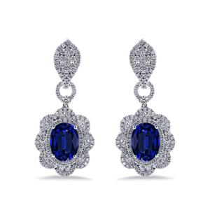 18K White Gold Halo Diamond Drop Earrings with 8 1/2 cttw Oval Blue Sapphire and 2 3/4 cttw Diamonds IGI Certified