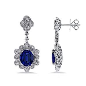 18K White Gold Halo Diamond Drop Earrings with 5 3/4 cttw Oval Blue Sapphire and 1 1/4 cttw Diamonds IGI Certified