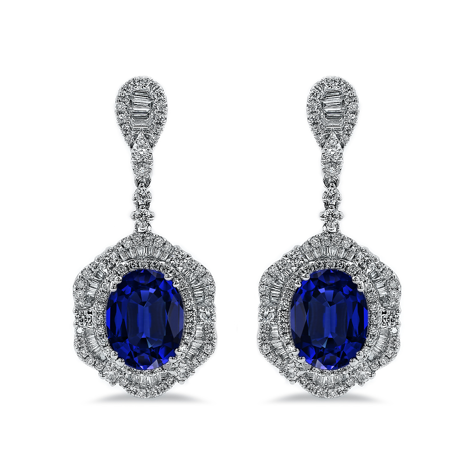 18K White Gold Halo Diamond Drop Earrings with 6 3/8 cttw Oval Blue Sapphire and 2 3/8 cttw Diamonds IGI Certified