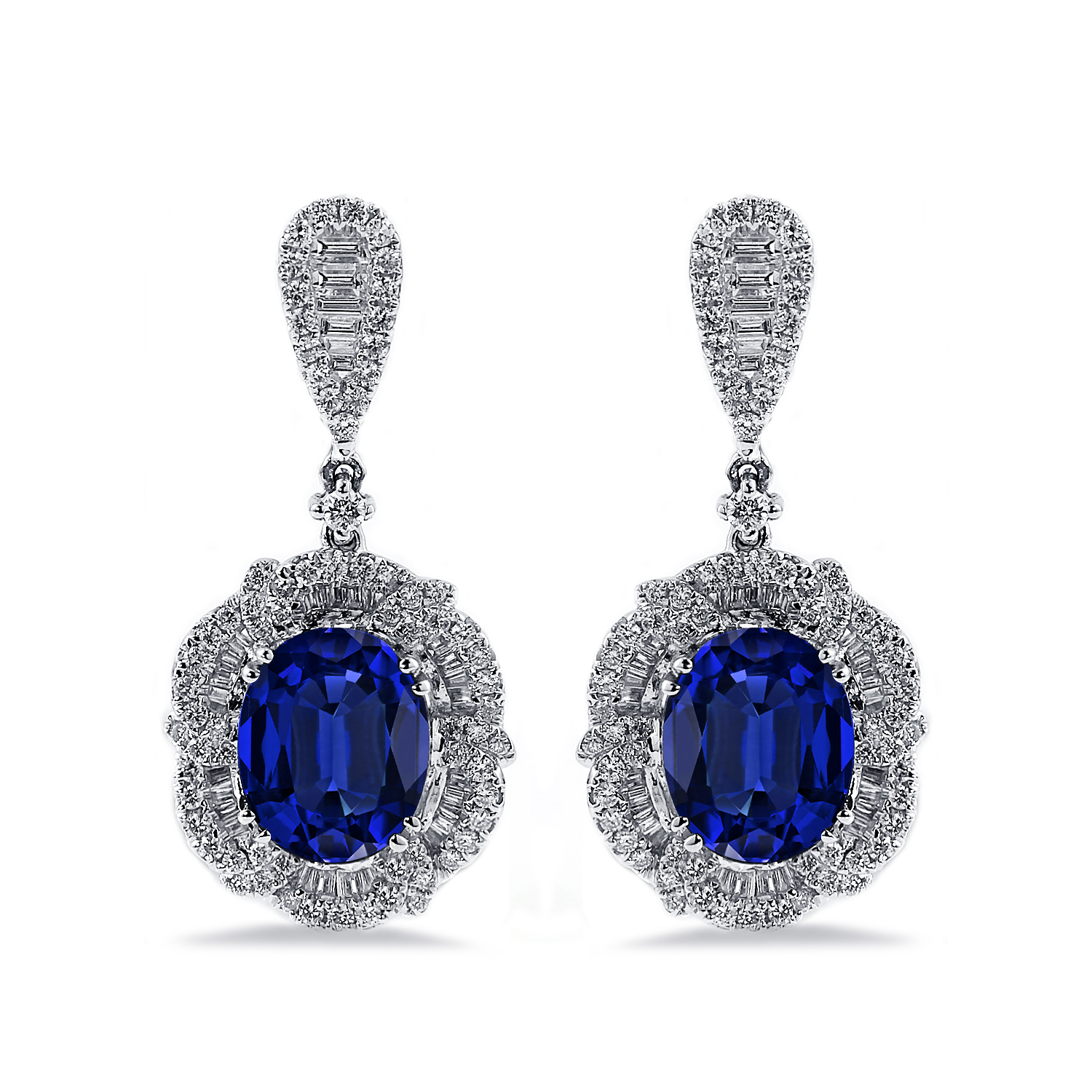 18K White Gold Halo Diamond Drop Earrings with 6 3/8 cttw Oval Blue Sapphire and 2 1/8 cttw Diamonds IGI Certified