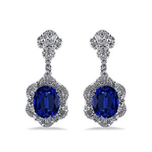 18K White Gold Halo Diamond Drop Earrings with 7 9/10 cttw Oval Blue Sapphire and 1 7/8 cttw Diamonds IGI Certified