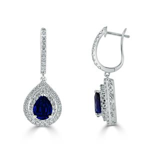 18K White Gold Double Halo Diamond Drop Earrings with 2 5/8 cttw Pear Blue Sapphire and 1 cttw Diamonds IGI Certified