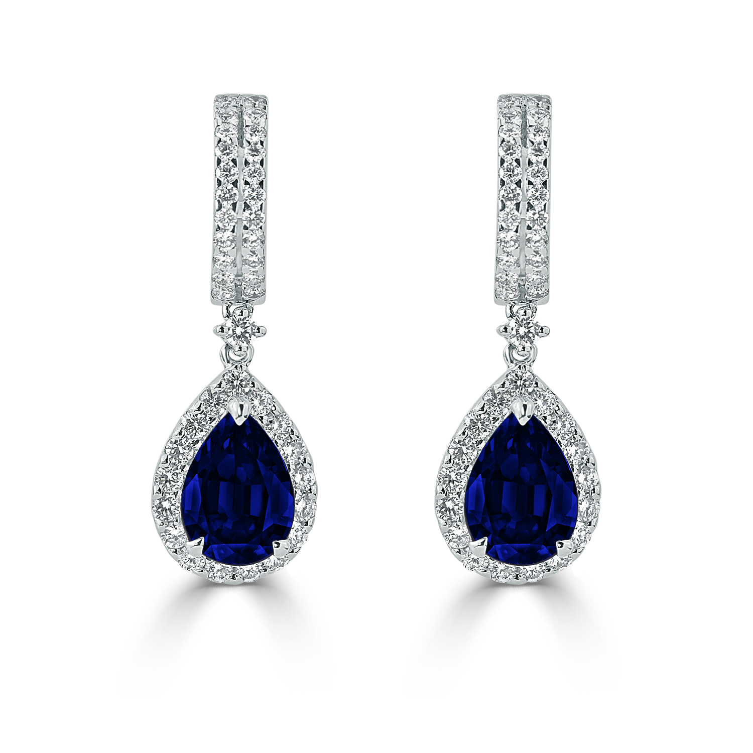 18K White Gold Halo Diamond Drop Earrings with 3 9/10 cttw Pear Blue Sapphire and 1 1/8 cttw Diamonds IGI Certified