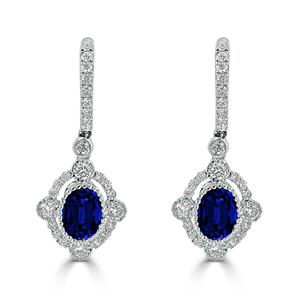 18K White Gold Halo Diamond Drop Earrings with 2 cttw Oval Blue Sapphire and  7/8 cttw Diamonds IGI Certified