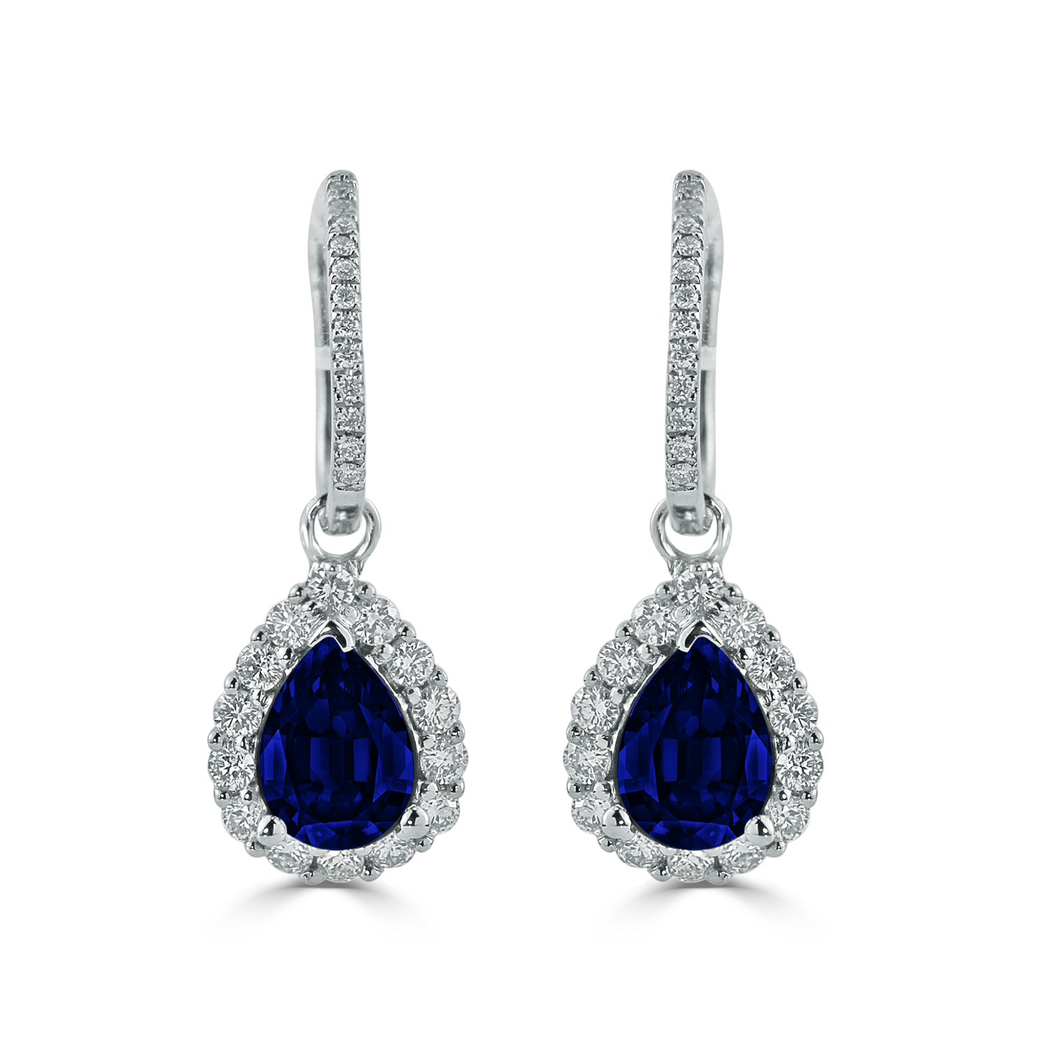 18K White Gold Halo Diamond Drop Earrings with 2 5/8 cttw Pear Blue Sapphire and 5/8 cttw Diamonds IGI Certified