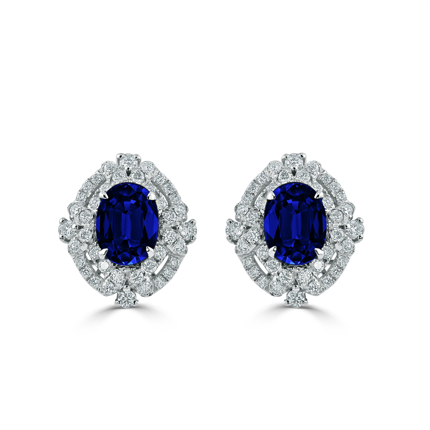 18K White Gold Halo Diamond Earrings with 3 1/5 cttw Oval Blue Sapphire and 5/8 cttw Diamonds IGI Certified