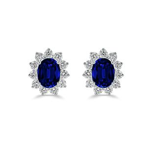 18K White Gold Halo Diamond Earrings with 3 cttw Oval Blue Sapphire and 1 1/4 cttw Diamonds IGI Certified