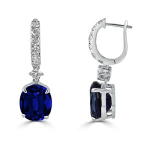 18K White Gold Halo Diamond Drop Earrings with 13 7/8 cttw Oval Blue Sapphire and  1 1/4 cttw Diamonds IGI Certified
