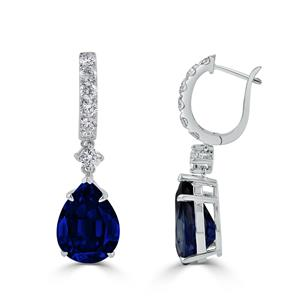 18K White Gold Halo Diamond Drop Earrings with 13 3/4 cttw Pear Blue Sapphire and 1 1/4 cttw Diamonds IGI Certified