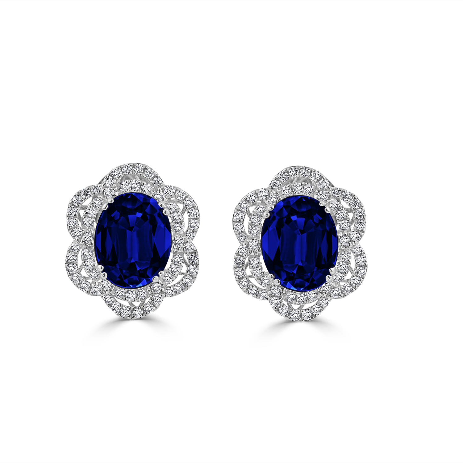 18K White Gold Halo Diamond Earrings with 6 9/10 cttw Oval Blue Sapphire and 5/8 cttw Diamonds IGI Certified