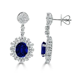 18K White Gold Halo Diamond Drop Earrings with 7 5/8 cttw Oval Blue Sapphire and  1 1/3 cttw Diamonds IGI Certified