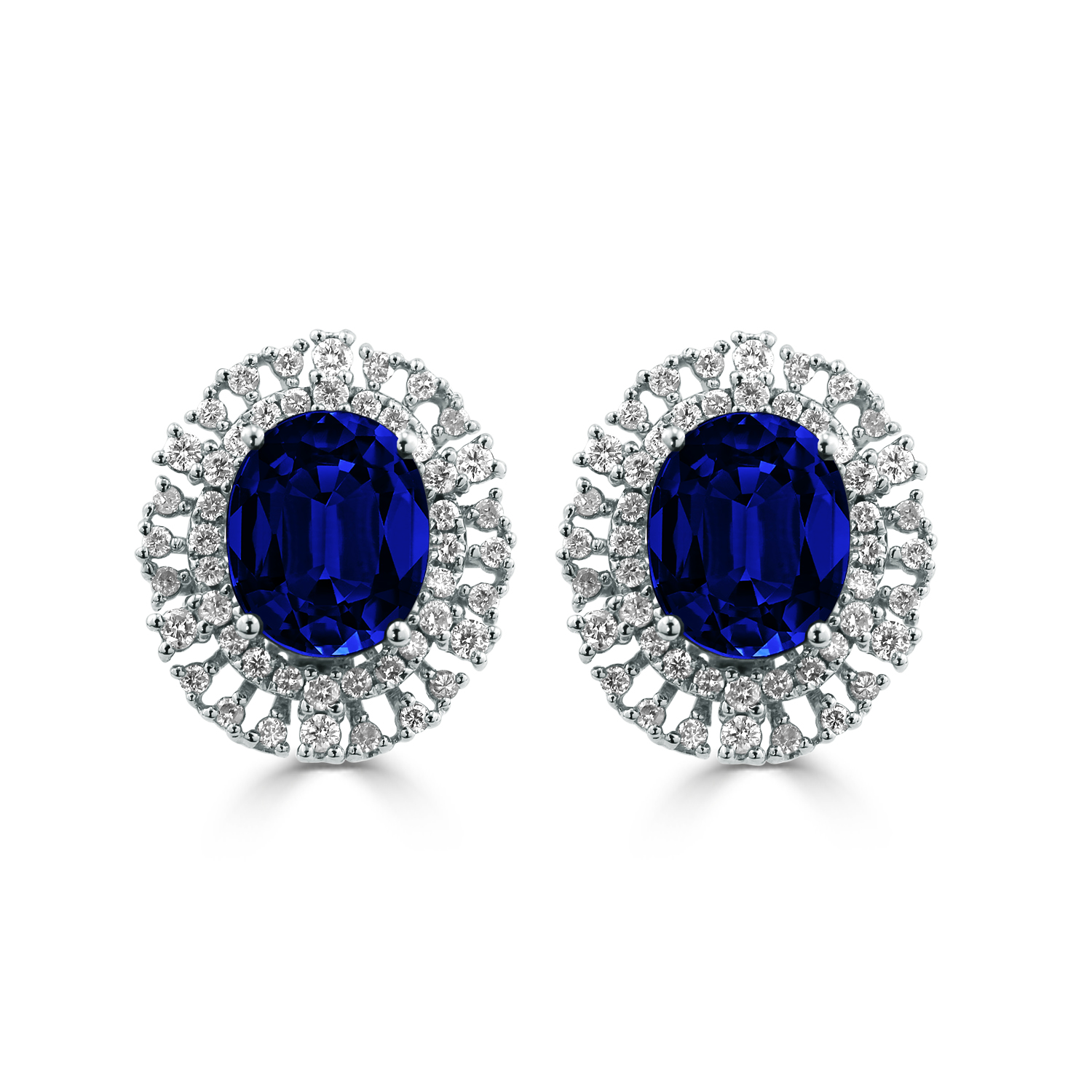 18K White Gold Halo Diamond Earrings with 7 5/8 cttw Oval Blue Sapphire and 1.08 cttw Diamonds IGI Certified