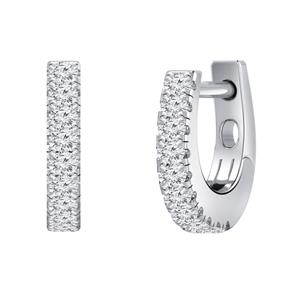 Certified 0.15 cttw Round Diamond Hoop Earrings in 14k White Gold (H-I, I1-I2)