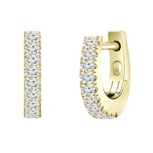 Certified 0.15 cttw Round Diamond Hoop Earrings in 14k Yellow Gold (H-I, I1-I2)