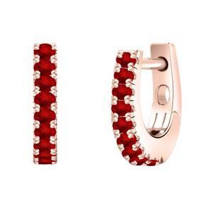 Certified 0.18 cttw Round Ruby Gemstone Hoop Earrings in 14k Rose Gold (Red, AAA)