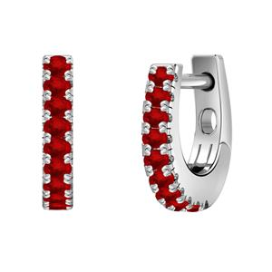 Certified 0.18 cttw Round Ruby Gemstone Hoop Earrings in 14k White Gold (Red, AAA)
