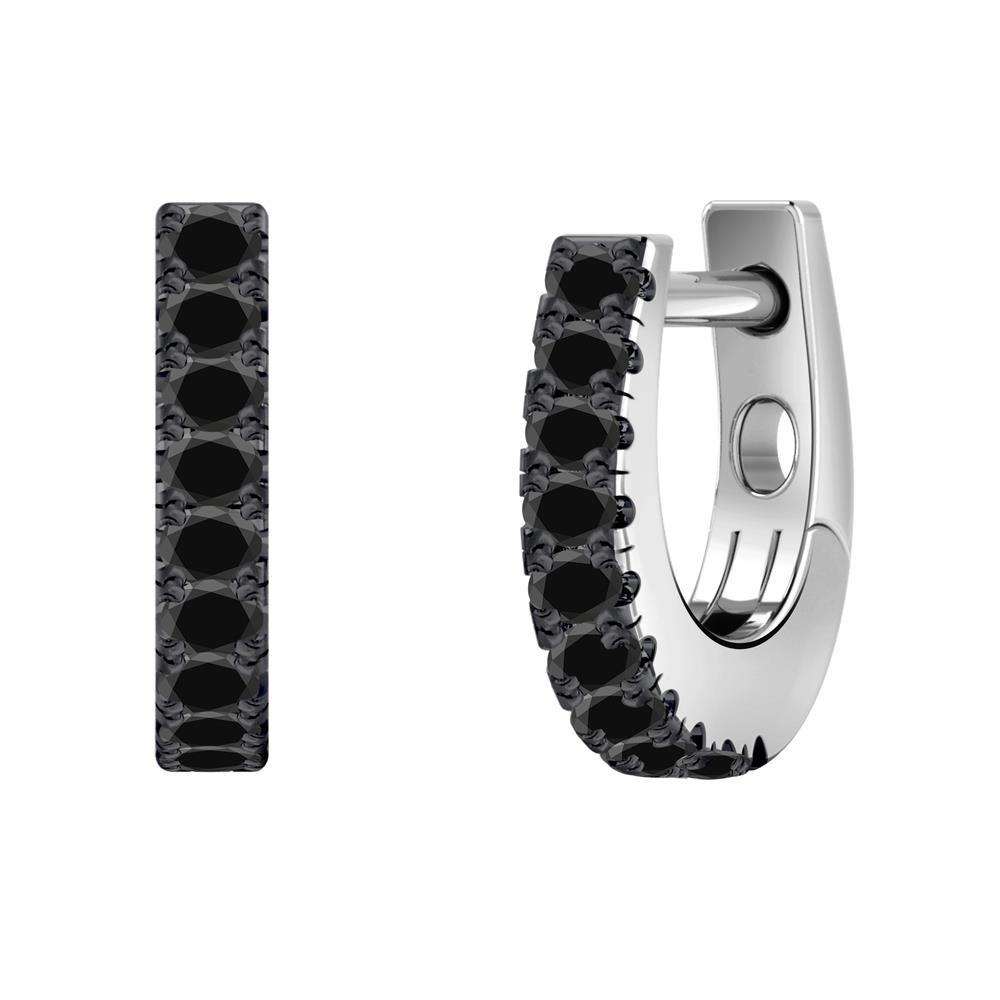 Certified 0.15 cttw Round Black Diamond Hoop Earrings in 14k White Gold (Black, AAA)