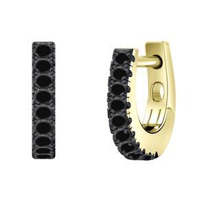 Certified 0.15 cttw Round Black Diamond Hoop Earrings in 14k Yellow Gold (Black, AAA)