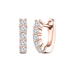 Certified 0.50 cttw Round Diamond Hoop Earrings in 14k Rose Gold (H-I, I1-I2)
