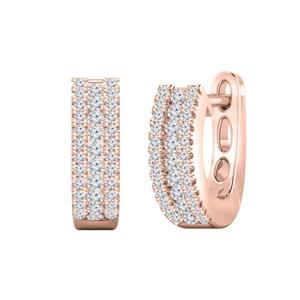 Certified 0.30 cttw Round Diamond Hoop Earrings in 14k Rose Gold (H-I, I1-I2)
